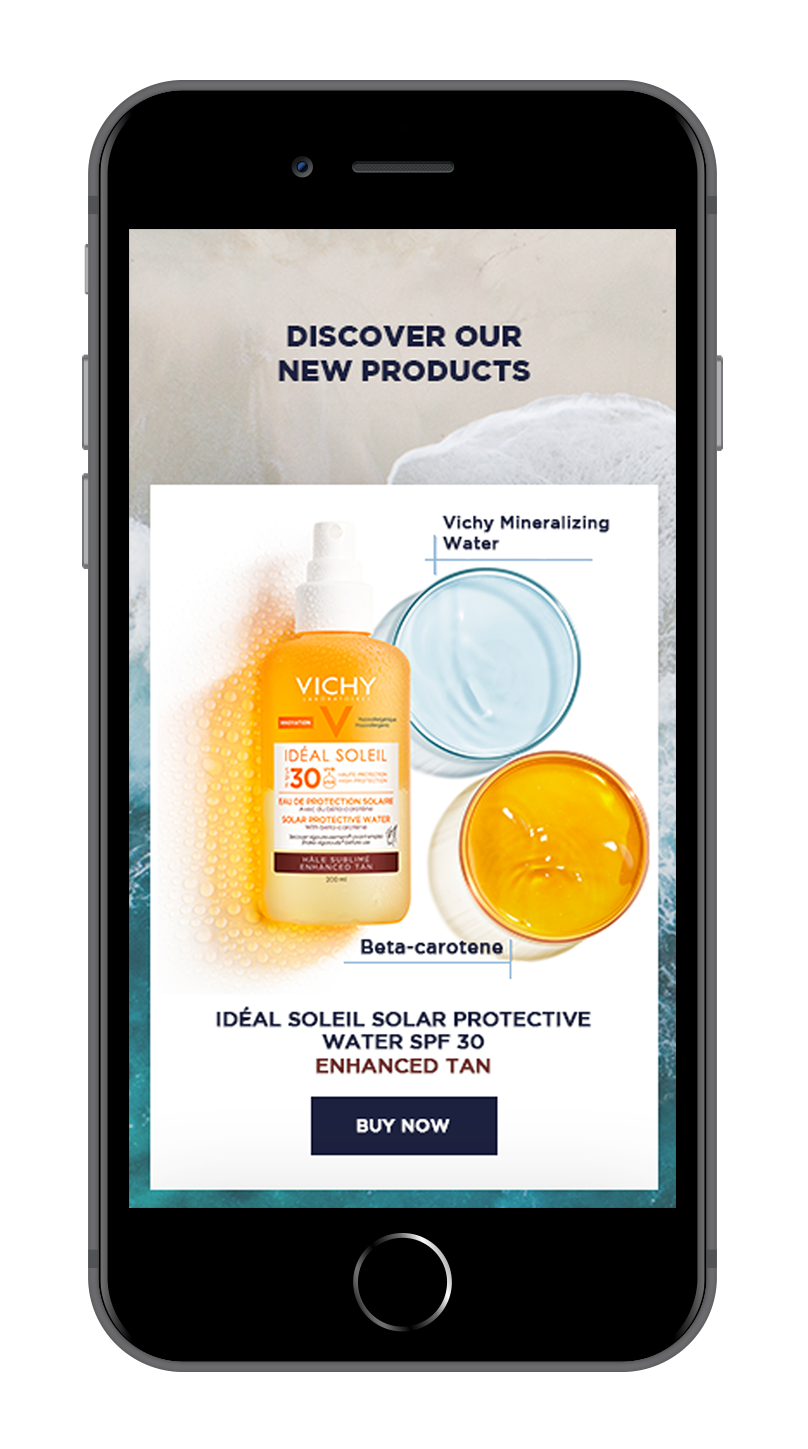 show hero, suncare for face (2 column layout for products), suncare for body (2 column layout for products) new products (1 column layout to show more of product) SHOW THIS ALL AS 4 PHONES